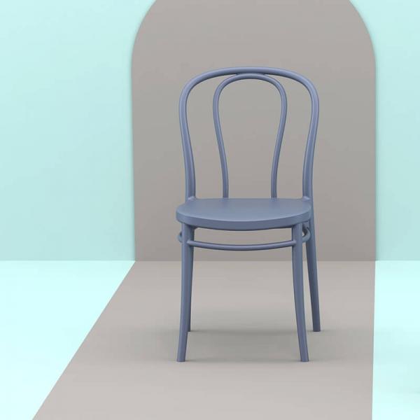 Chaise bistrot en polypropylène gris foncé empilable - Victor - 1