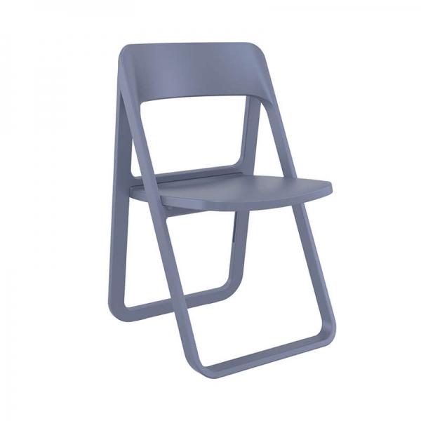Chaise moderne pliante en plastique gris foncé - Dream - 10