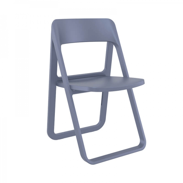 Chaise pliante en polypropylène gris foncé pour le jardin - Dream  - 8