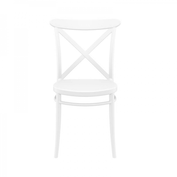 Chaise empilable en polypropylène blanc style bistrot - Cross - 5