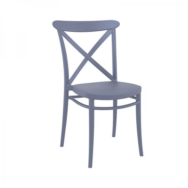 Chaise de cuisine style bistrot en plastique gris - Cross - 7
