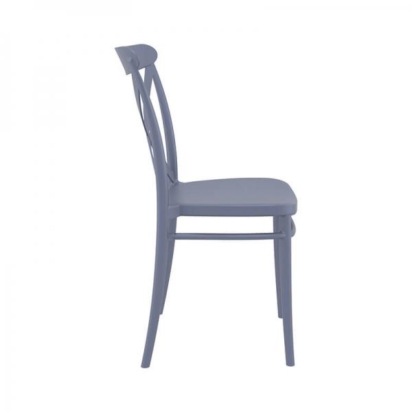 Chaise de cuisine en polypropylène gris empilable - Cross - 11