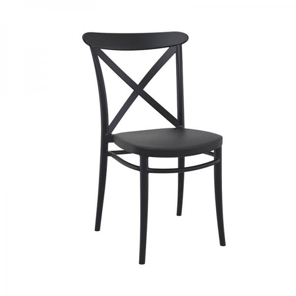 Chaise de cuisine noire empilable - Cross - 12