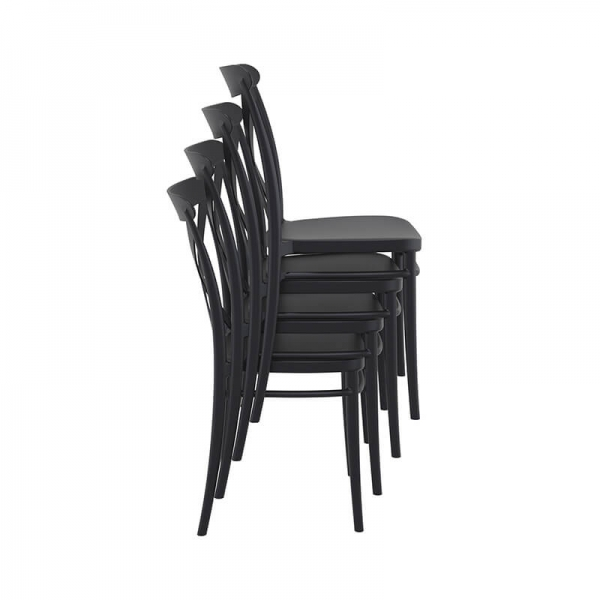 Chaise empilable noire style bistrot - Cross - 17