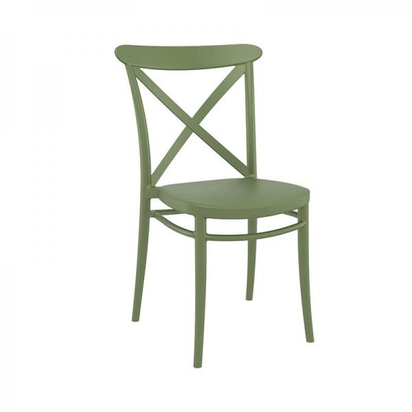 Chaise en polypropylène verte empilable - Cross - 18