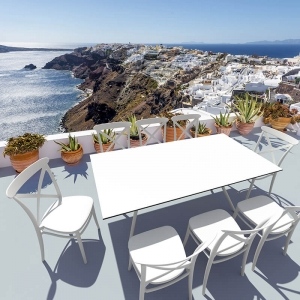 Chaise de jardin blanche style bistrot empilable - Cross