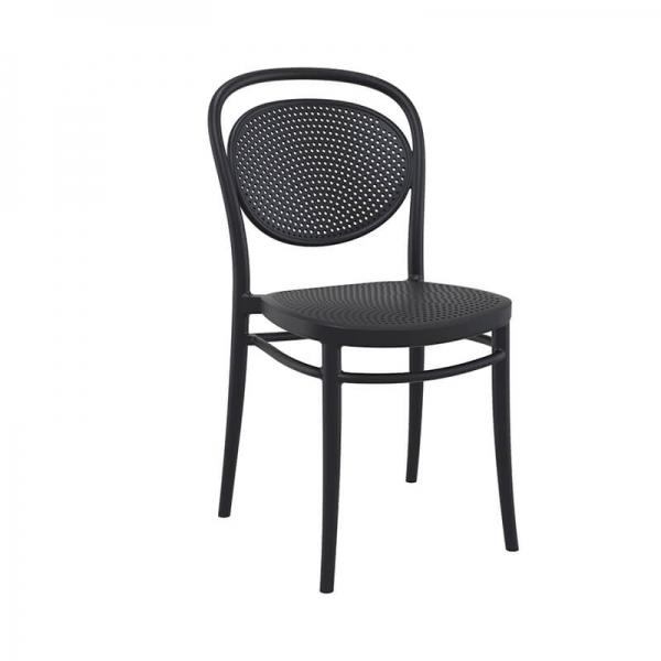 Chaise moderne empilable en plastique noire  - 3