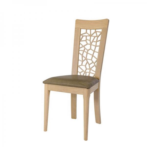 Chaise de fabrication française en bois massif dossier original - Arum 1662 - 2