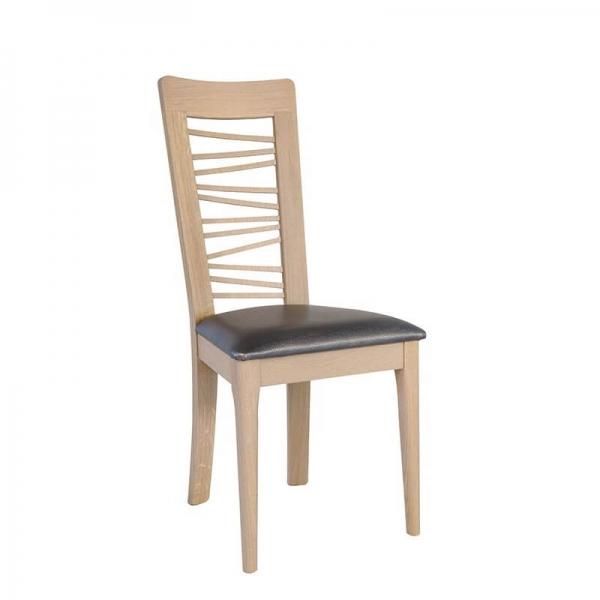Chaise en bois massif contemporaine assise noire fabrication française - Arum 1664 - 1