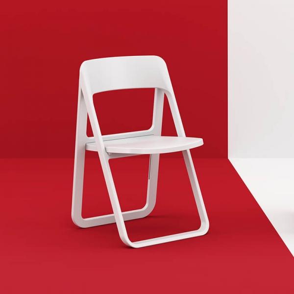 Chaise de jardin pliante en plastique blanc moderne - Dream - 2