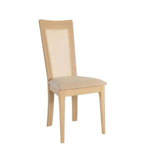 Chaise en bois et tissu avec dossier canné made in France - Arum 1665