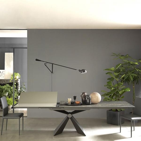 Table design italien avec allonge sen céramique marbrée - Sintesi - 3