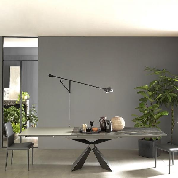 Table moderne italienne extensible en céramique noire - Sintesi - 4