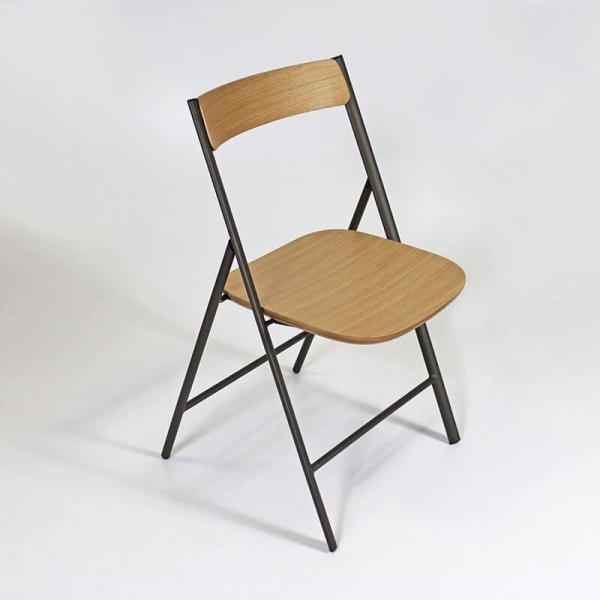 Chaise pliante en bois et métal  - 1