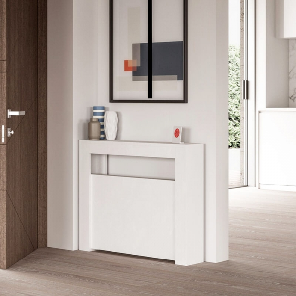 Table console extensible en mélaminé blanc de fabrication italienne - Slimmy - 1