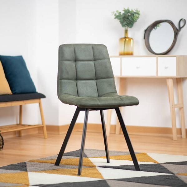 Chaise rembourrée et matelassée verte style moderne - Carvi - 1