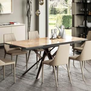 Table design italienne extensible en verre marbré - Romeo