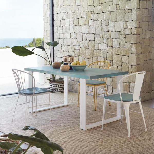Chaise en métal et bois rétro - Tudela - 2