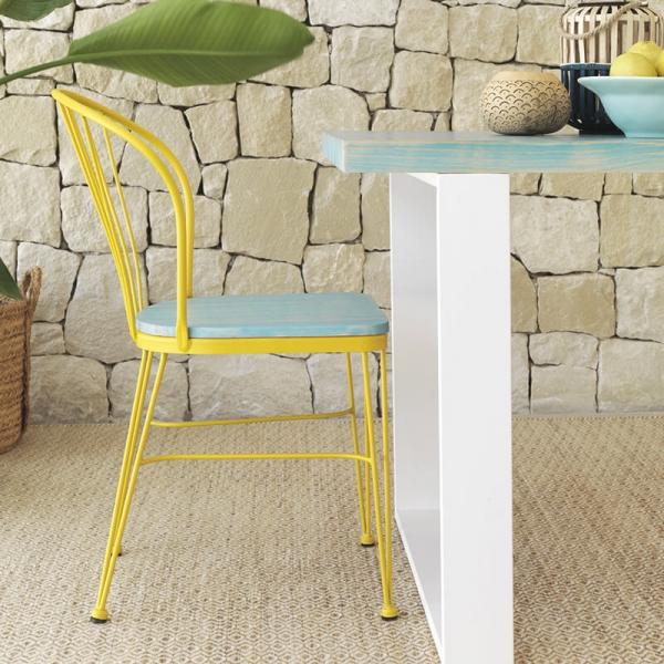 Chaise en métal et bois jaune et bleu de fabrication espagnole - Tudela - 1