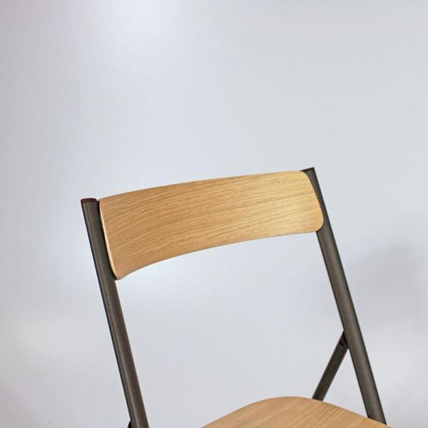 Chaise en bois et métal pliable d'appoint - 2
