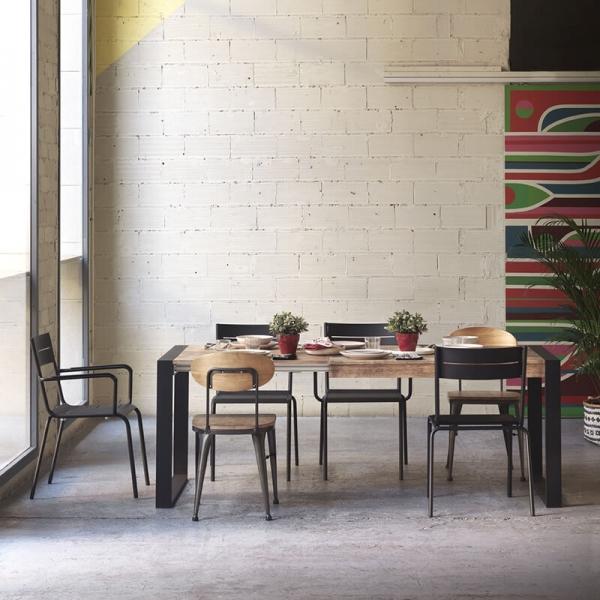 Chaise industrielle vintage en bois et métal noir - Austin - 4