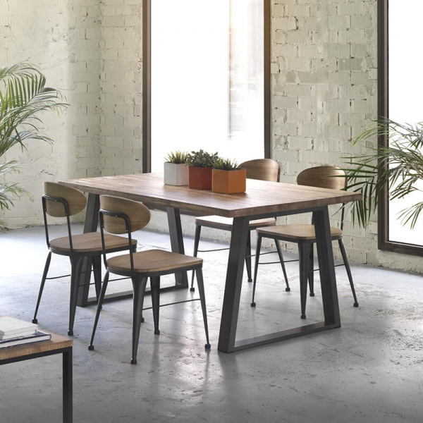 Chaise style industriel vintage en bois et métal noir - Austin  - 3