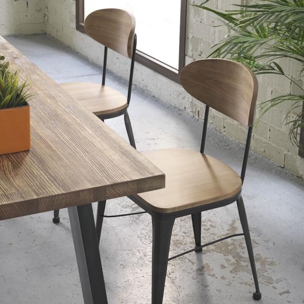 Chaise en bois et métal noir industriel - Austin - 1