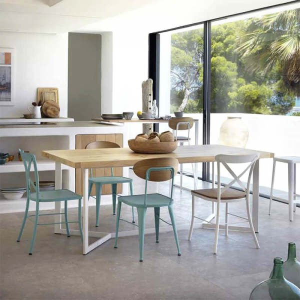 Chaise en métal bleu et bois style industriel - Austin - 2