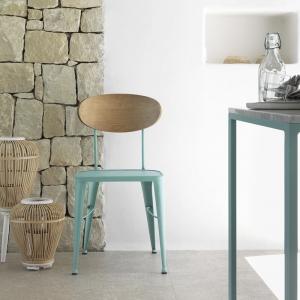 Chaise en métal industriel bleue dossier bois - Austin