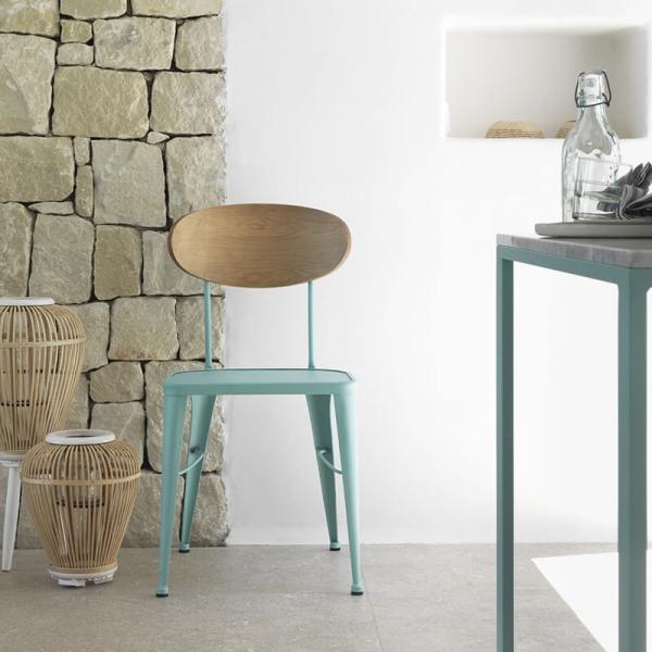 Chaise en métal industriel bleue dossier bois - Austin - 1