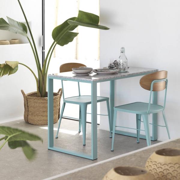 Chaise industrielle bleue et bois de fabrication espagnole - Austin  - 3