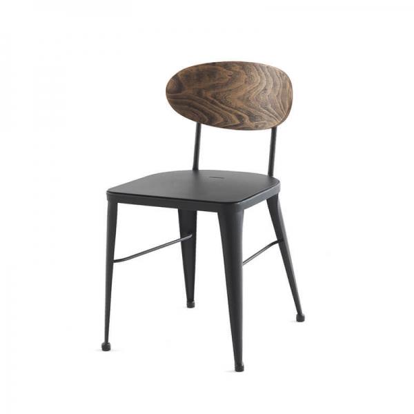 Chaise d'atelier en métal noir et bois massif - Austin - 6