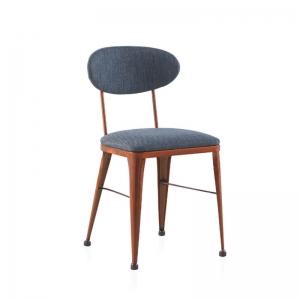 Chaise industrielle confortable en métal bronze et tissu bleu - Austin