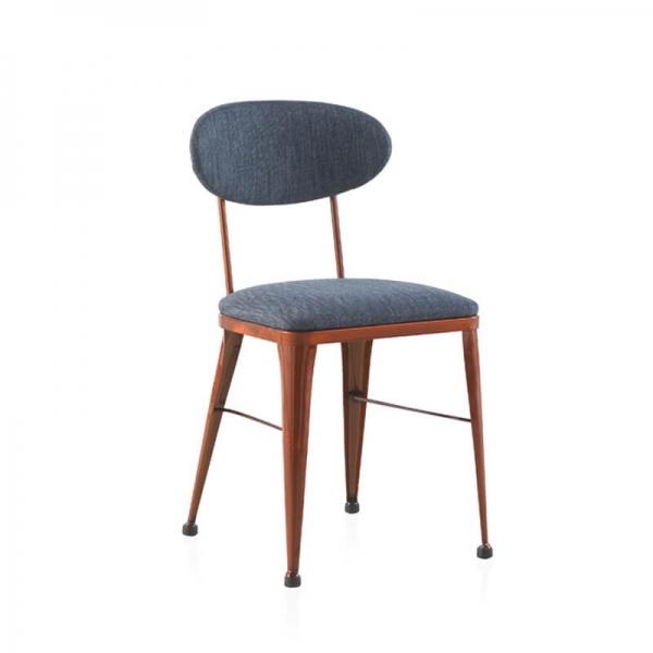 Chaise industrielle confortable en métal bronze et tissu bleu - Austin - 1