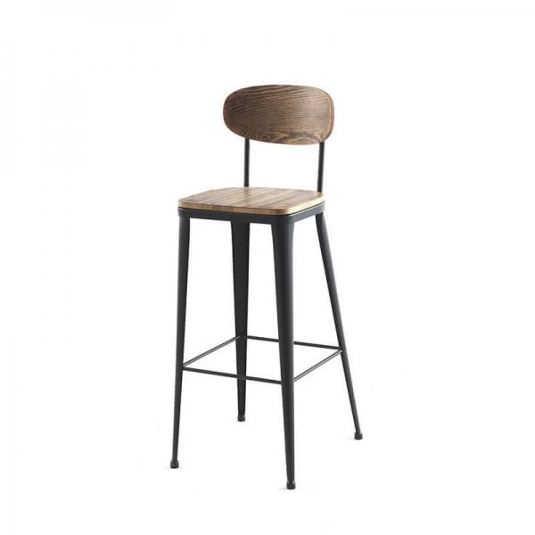 Tabouret haut bois industriel et métal noir - Austin - 4