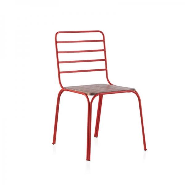 Chaise métal et bois vintage rouge made in Spain - Nantes - 3