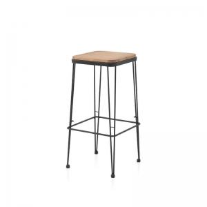 Tabouret assise bois pied métal noir style industriel - Riopar