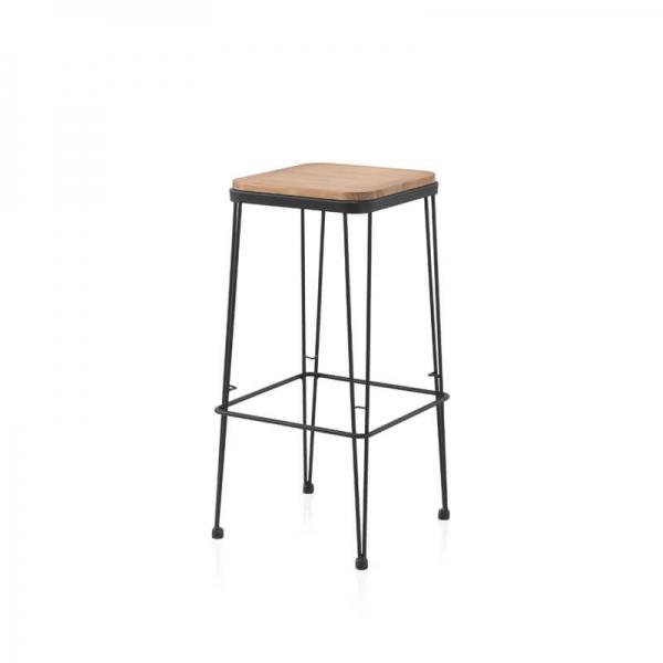 Tabouret assise bois pied métal noir style industriel - Riopar - 1