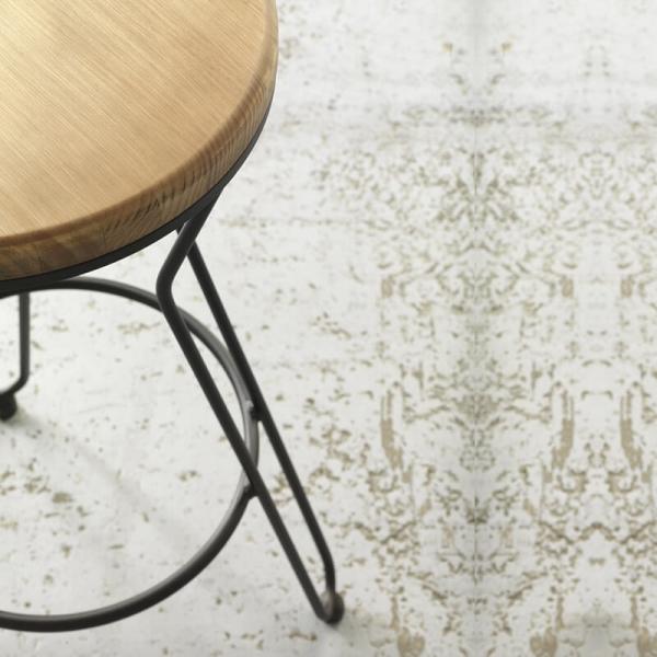 Tabouret bois et métal noir assise ronde - Lisboa - 2