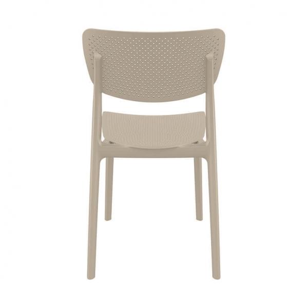 Chaise d'extérieur en plastique taupe micro perforé empilable - Lucy - 24