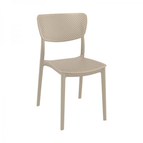 Chaise de terrasse en polypropylène taupe empilable - Lucy - 22