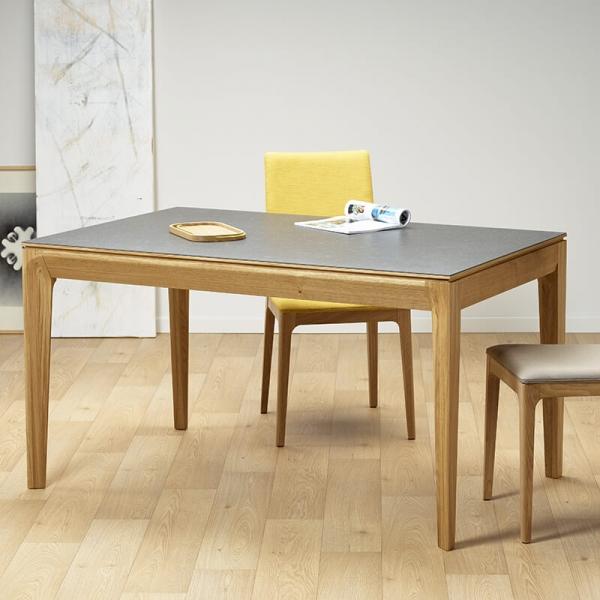 Table de salle à manger française extensible en céramique grise - Buzz - 1