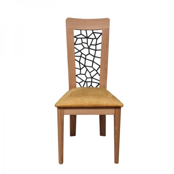 Chaise de salle à manger en tissu jaune fabrication française - Arum 1662 - 1