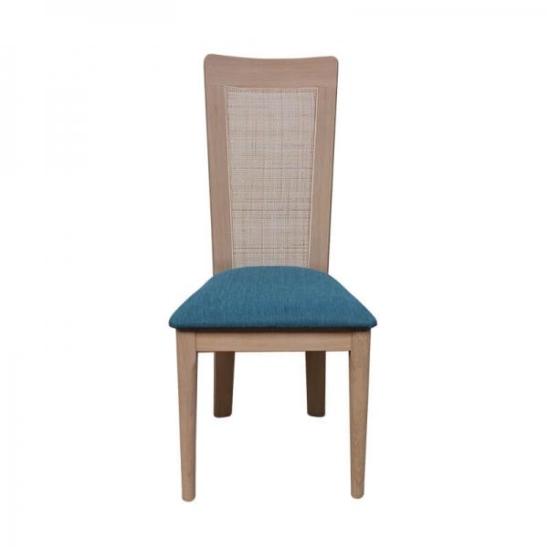 Chaise dossier canné structure en bois massif et assise en tissu bleu - Arum 1665 - 3