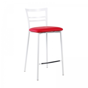 Tabouret snack contemporain en vinyle et métal blanc assise rouge - Go 1513 21