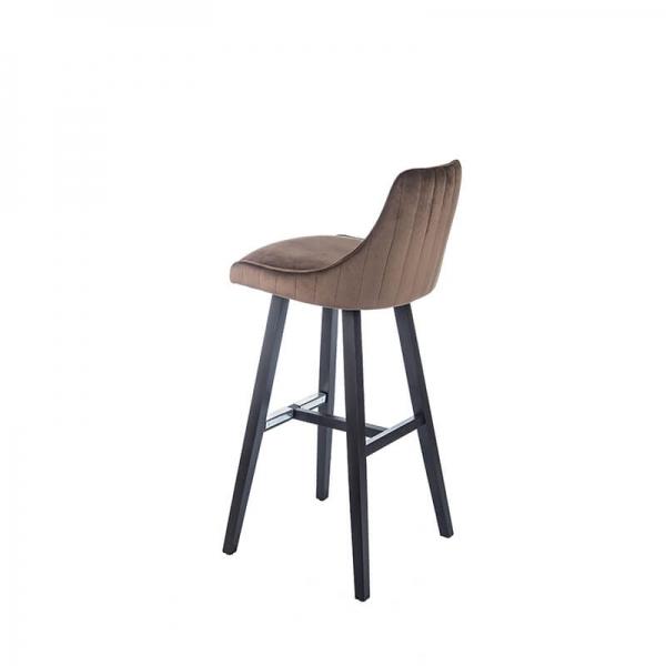Tabouret hauteur 80 cm moderne avec pieds bois et coque en tissu – Lars 2 - 5