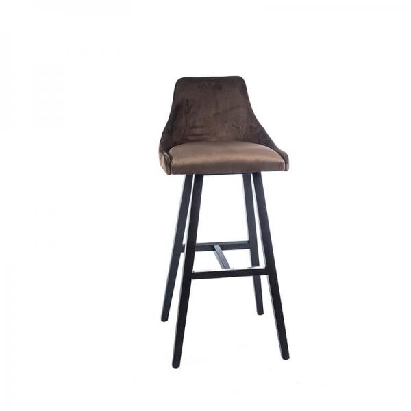 Tabouret hauteur 80 cm moderne en bois et tissu – Lars 2 - 1