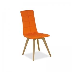 chaise matelassée italienne orange avec pieds en bois
