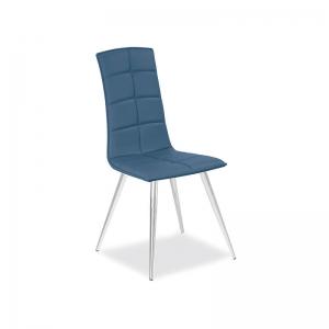 chaise matelassée italienne bleue avec pieds en métal