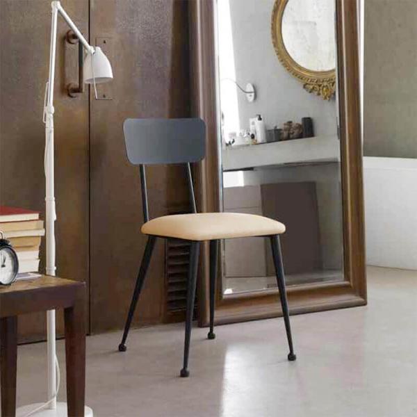 Chaise en métal noire et crème rembourrée pour salle à manger - Lanuza - 1